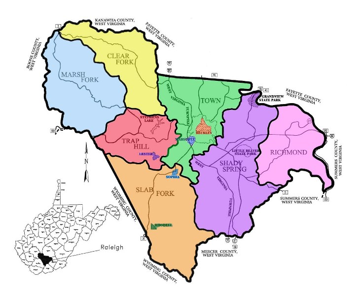 Raleigh, Raleigh County, Raleigh County Assessor, Beckley, West Virginia, Districts